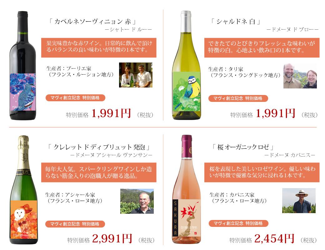 創立記念オリジナルワイン 商品ラインナップ